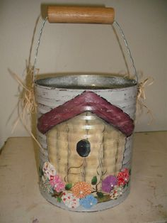 Tin Can Crafts, Diy And Crafts, Decoupage, Tin Can Art, Milk Cans, Country Crafts, Homemade Gifts, Primitive, Canning