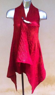 Cherry Red Felt Tunic in Australian by juliaheartfelt, $189.00