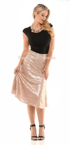 This jaw-dropping all over sequin rose gold skirt is perfect for all your Holiday parties coming up! This absolutely gorgeous skirt is fully lined with a zipper closure. A-line, tee-length fit, this skirt is the epitome of dressing beautifully modest! Modest Skirts, Cute Skirts, Modest Outfits, Modest Fashion, Skirt Fashion, Cute Dresses, Vintage Dresses, Fashion Outfits, Dresses Dresses