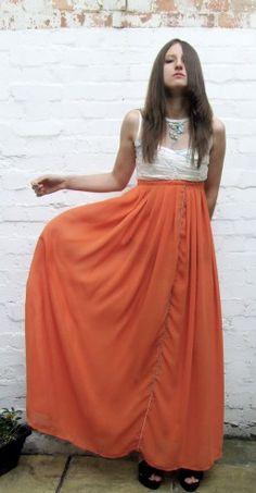 Handmade orange and aqua beaded Maxi dress