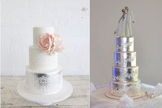 metallic and lace wedding cake by Sweet Bloom left and Liz Wickers Takes The Cake AU right silver leaf