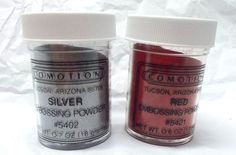 Comotion red Silver Embossing powder jars lot metallic silver rubber stamping #Comotion