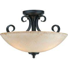 Talista Burton 3-Light Bordeaux Incandescent Ceiling Semi Flush Mount
