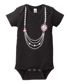 Take a look at this Black & Pink Flower Pearl Necklace Bodysuit - Infant by GANZ on #zulily today!