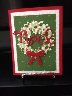 Wondrous Wreath. trim the tree dsp, red glitter paper