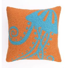 JellyFish Hook Pillow  New designer hook pillow features a richly outlined jellyfish on a orange background.  It has a sophisticated yet relaxing design that is pleasing to the eye.      Hook Pillow measures 18   53.99
