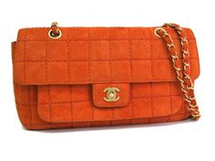 #Chanel Chain Shoulder Bag Chocolate bar Suede Orange(BF065416). eLADY global offers free shipping worldwide. For more pre-owned luxury brand items, visit http://global.elady.com
