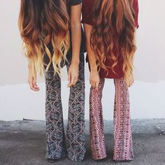 long hair and bell bottoms