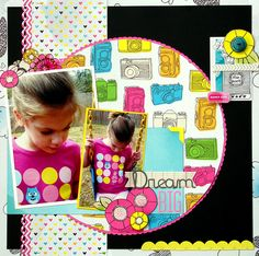 Dream Big Scrapbook layout with circle.