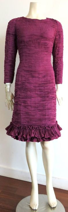 1960's SYBIL CONNOLLY Hand-pleated Irish linen evening dress