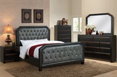 F9265 - Marin Gray Faux Leather Button Tufted Design Queen Bed - Furniture2Go