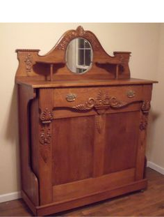 Victorian 1885 Antique Cabinet With Folding Child Size Bed