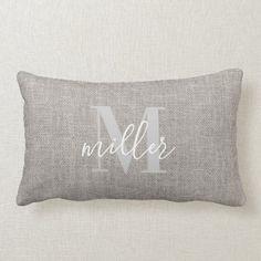 Rustic Monogrammed Family Name Lumbar Pillow Burlap Background, Beige Background, Monogram Pillows, Custom Pillows, Lumbar Pillow, Bed Pillows, Printed Cushions, Rustic Design, Vintage Prints