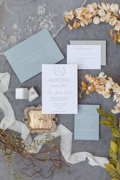 Grey and Slate Blue Wedding Invitations with a simple monogram - order a sample now!