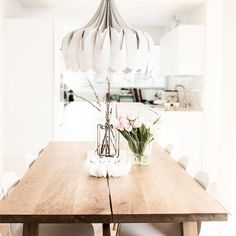 Brighten up your dining room with a beautiful Peony lamp 💫 / be&liv White Houses, Beautiful Lights, Ceiling Lamp, Peony, Dining Room, Contemporary, Future, Bedroom, House Styles