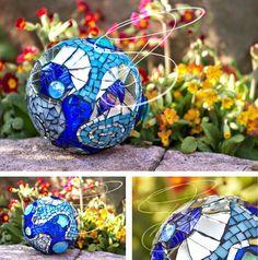 Mosaic Ball - Garten Kugel - Mosaique - Blue Water von SarahTORTROTAUmosaic auf Etsy