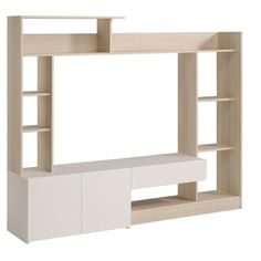 Gamma, modern wall TV unit in light Acacia and white finish-detail