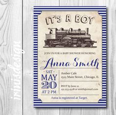 Vintage train baby shower invitation train toy retro baby boy navy blue vintage train baby shower invitation or birthday party invite printable stripes baby boy template108 filmwisefo