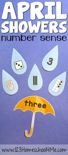 FREE April Showers Number Sense Math Activity for preschool, prek, kindergarten, first grade,grade 1 - such a fun activity for math centers this spring