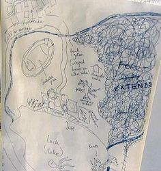 J.K. Rowling personal drawings of Harry Potter and the Philosopher's Stone Map