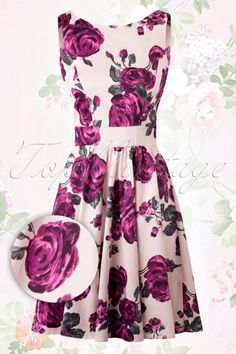 Lady V Purple Flowers Swing Dress 102 29 15464 20150511 013W2