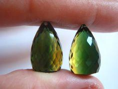 Pair of Big Bi Color Quartz Faceted Teardrop by BohoBoutique, $38.22