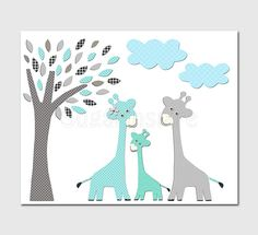 aqua and grey and teal giraffe nursery Art Print, 8x10, baby boy room, Kids Room Decor, Children Wall Art - Giraffe family, tree via Etsy