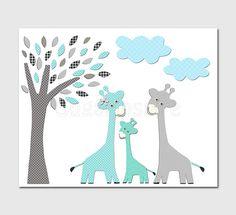 aqua and grey and teal giraffe nursery Art Print, 8x10, baby boy room, Kids Room Decor, Children Wall Art - Giraffe family, tree via Etsy