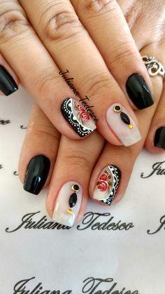 Lace Nails, Flower Nails, Cute Nail Art, Nail Art Diy, Linda Nails, Nail Art For Kids, The Art Of Nails, Nail Art Photos, Finger Art