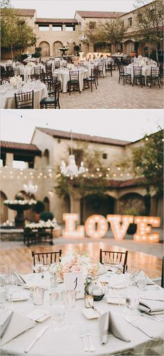 Beautiful open air reception with LOVE Marquee lights. Captured By: Lauren Scotti Photography --- http://www.weddingchicks.com/2014/06/06/shabby-chic-plaza-wedding/