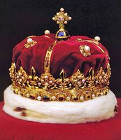 Crown of Scotland The Crown of Scotland is part of the collection known as the Honours of Scotland. A beautiful specimen of early renaissance craftsmanship, it is the oldest crown in Britain. The sovereign is never crowned with it, nor is it ever worn, but it is officially handed over to the sovereign in a ceremony held in Edinburgh shortly after the coronation in London.