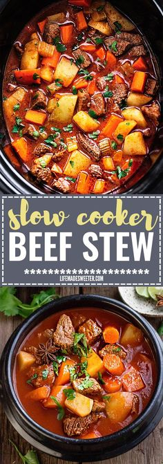 Slow Cooker Homemade Beef Stew makes the perfect comforting dish on a cold day. Best of all, it's easy to make and simmers in the crock-pot for the most tender meat with carrots, potatoes, sweet potatoes and celery.