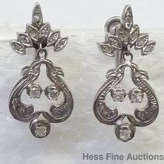 Antique Victorian Style 14k White Gold Diamond Dangle Drop Earrings #DropDangle