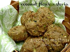 Coconut Flour and Stevia Zucchini Muffins - Empowered Sustenance.  Made these with honey instead of stevia, they were okay I thought but mjk loved them!