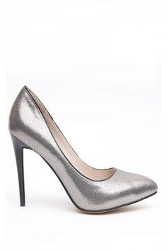 Pantofi NISSA gri cu toc negru Pumps, Heels, Mall, Fashion, Heel, Moda, Fashion Styles, Pumps Heels, Pump Shoes