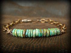 Turquoise Bracelet - Mens Bracelet - Chain Bracelet - Mens Jewelry - Native Bracelet - Southwest Bracelet - Copper Bracelet. $44.00, via Etsy.