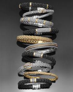 LAGOS Black Caviar bracelets and the classic gold and silver Caviar bracelets