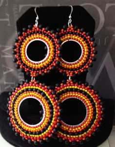 Double Hoop Earrings Night Fire Multicolored Bohemian Seed Bead Earrings