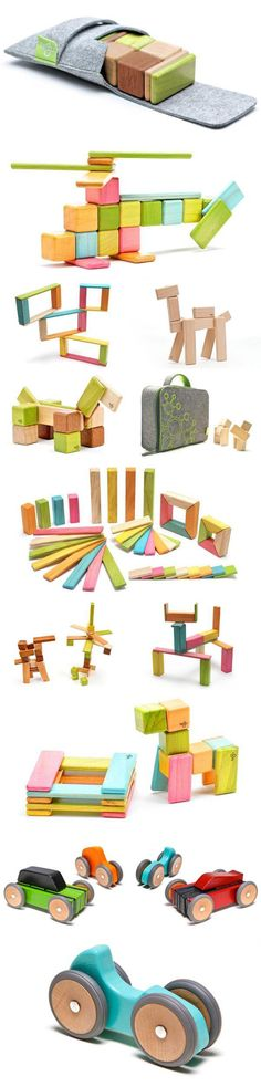 Tegu Toys, magnetic wooden toys, super cool but not cheap.  Fortunately the quality should last, though..