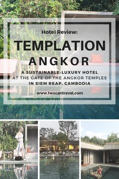 Templation Angkor is a luxury hotel in Siem Reap Cambodia, focused on responsible, sustainable practices. The hotel has an eco-friendly design with solar panels and uses recycled water for the gardens. They also support local community projects such as art and environmental initiatives. The grounds are beautiful and the main pool is huge! We stayed in a Private Pool Suite, which was unbelievably stunning. We even had breakfast delivered to our pool, and it floated! Check out our full review.