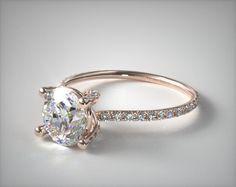 41415 engagement rings, pave, 14k rose gold twist pave ze102 by danhov designer engagement ring item - Mobile