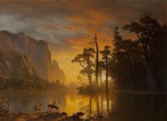 Mountain View, Sunset (detail), 1865, Albert Bierstadt.