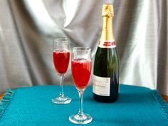 Delicious champagne cocktail recipe with pure pomegranate juice, orange liqueur, sweet lime juice and champagne. Includes mocktail variation.