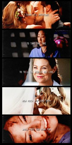 I think it's important to take the time to tell the people you love, how much you love them while they can hear you. #GreysAnatomy #Feels