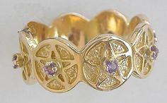 Repeating Pentagram, 14kt Gold and Amethyst