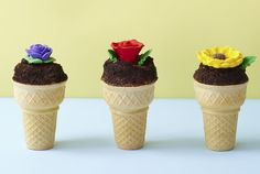 This adorable treat makes for a fun (and tasty!) baking project with the kids. Cupcake batter fills the cone, so every last bite is filled with moist chocolate cake.