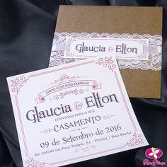 Convite de Casamento Rústico com Renda. Modelo Outono. www.rosapittanga.com.br #convite #convitescasamentos #convitecasamento