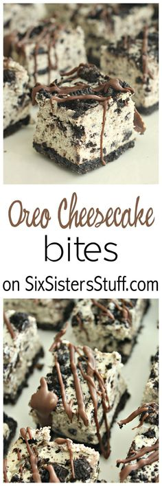 Oreo Cheesecake Bites on SixSistersStuff.com | This rich & creamy oreo dessert is a must-have for your family get togethers or afternoon treat!