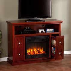 Upton Home Baxter Cherry Media Console/ Stand Electric Fireplace