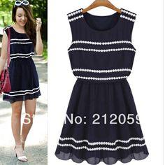 Fashion summer 2014 navy blue sleeveless clothing lace decoration chiffon one-piece dress S/M/L $24.74